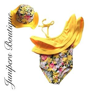 Other - Boutique Girls Yellow Ruffle Swimsuit & Hat